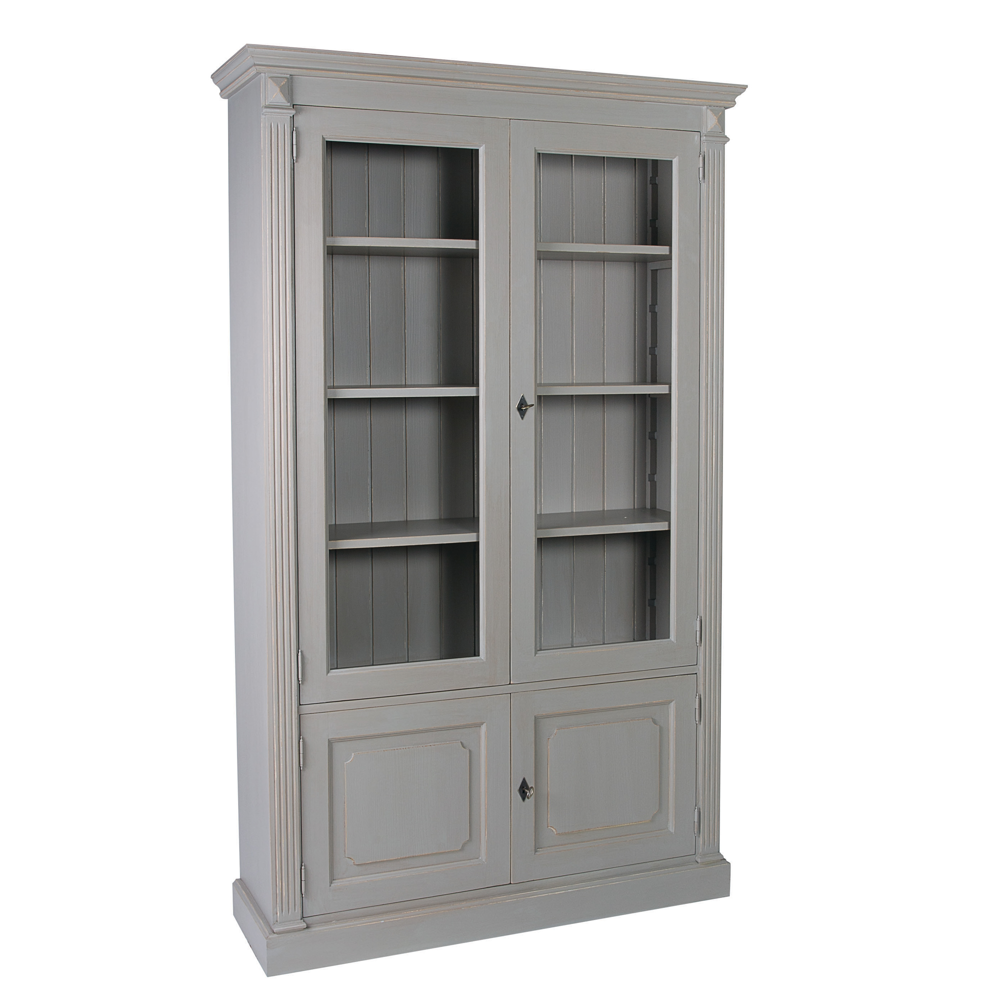 French Wide Fluted Glazed Bookcase with Cupboard