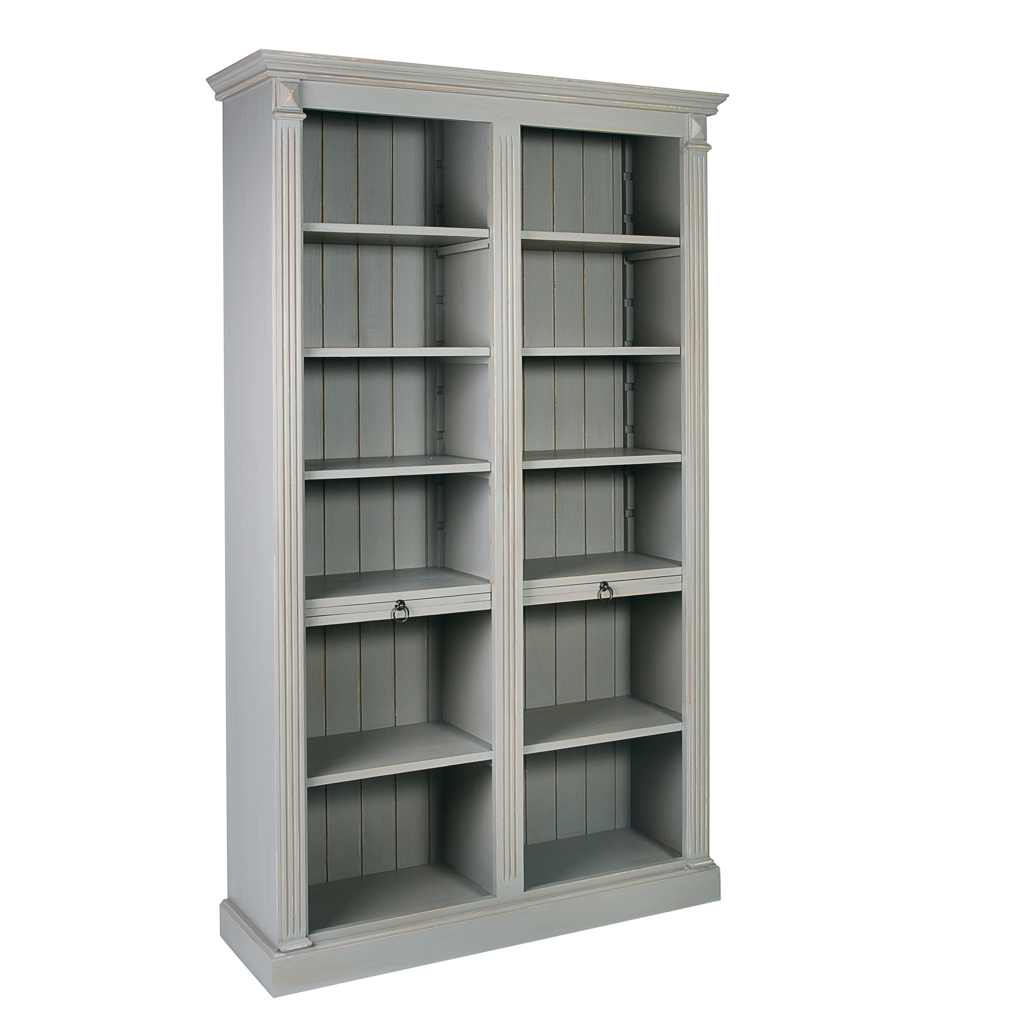 French Fluted Open Bookcase with Writing Leaves