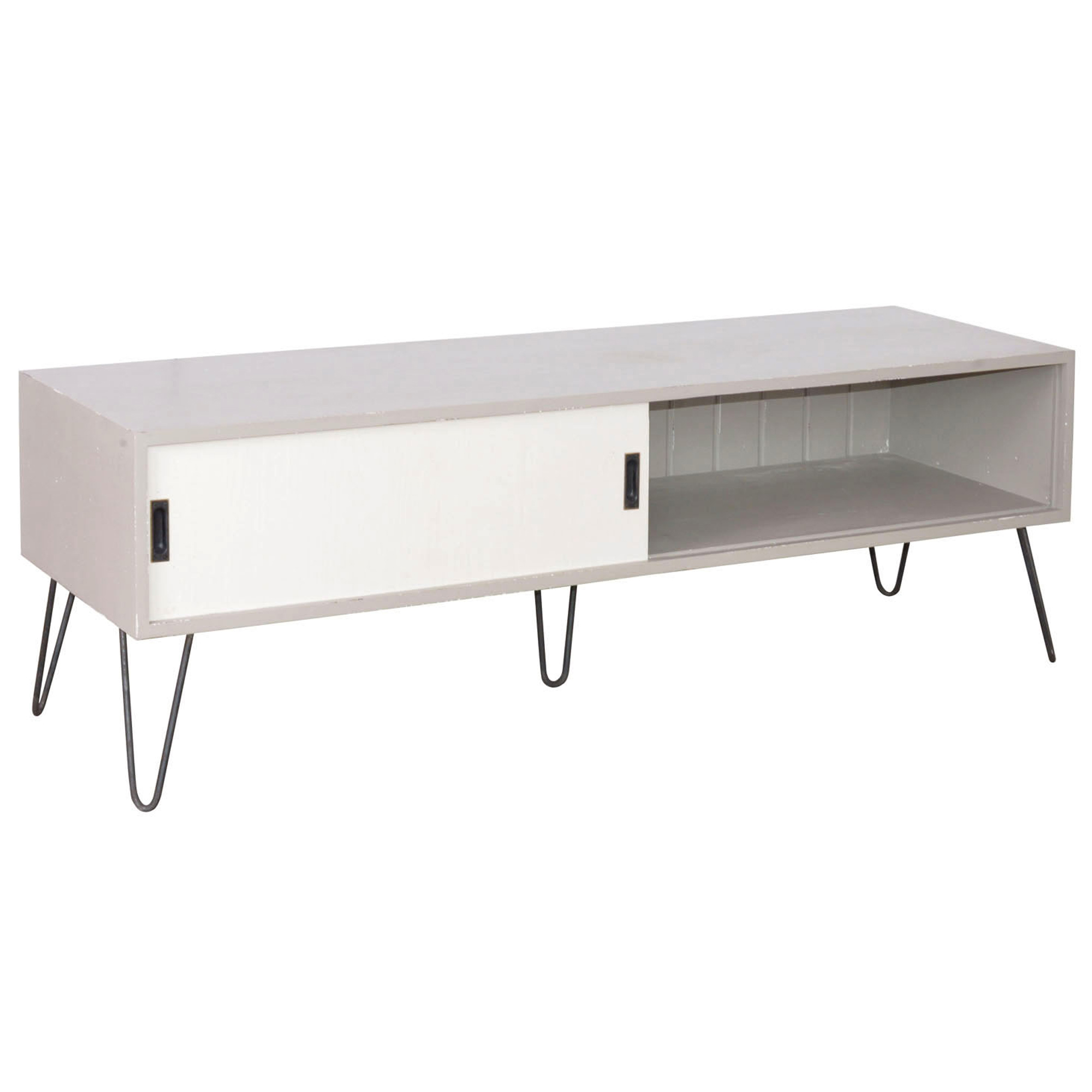 French Media Unit With Sliding Door Metal Legs
