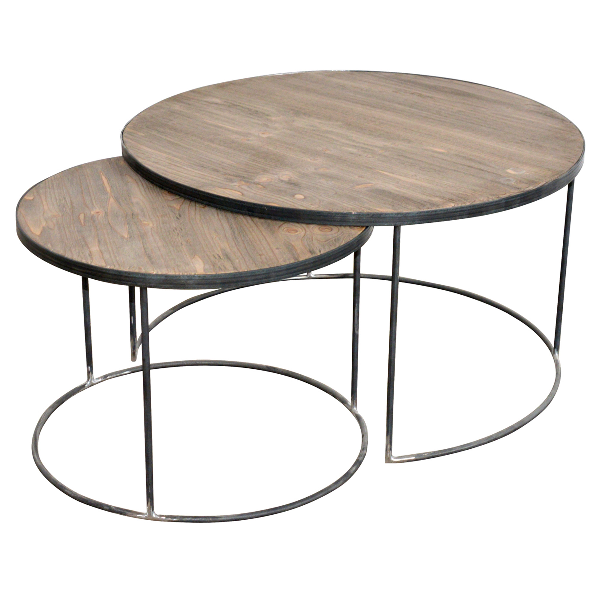 French set of two round coffee tables Round espresso coffee table