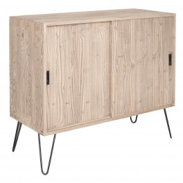 French Sliding Door Sideboard With Metal Legs