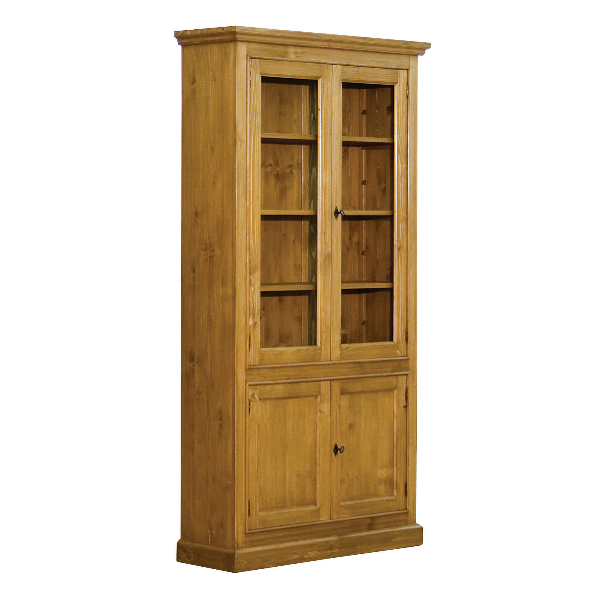 French Glazed Bookcase with Cupboard