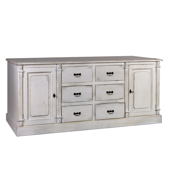 French Fluted Sideboard with Six Drawers