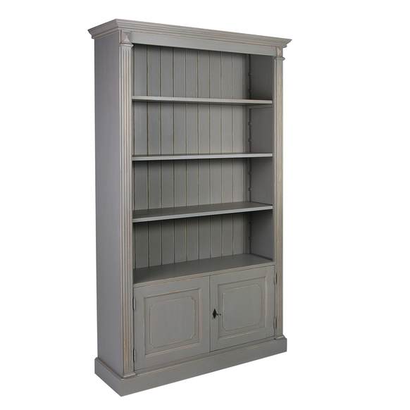 French Wide Fluted Open Bookcase with Cupboard