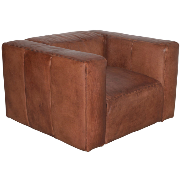 French Cube Leather Armchair