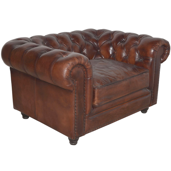 French Chesterfield Leather Armchair