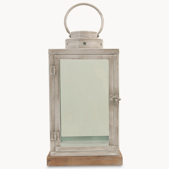 Metal-Lantern-On-Wood-Base
