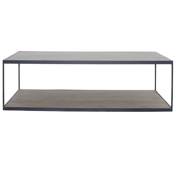 French-Metal-Frame-Coffee-Table Old Oak