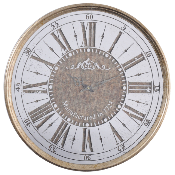 Antique-Gold-Mirrored Round-Wall-Clock